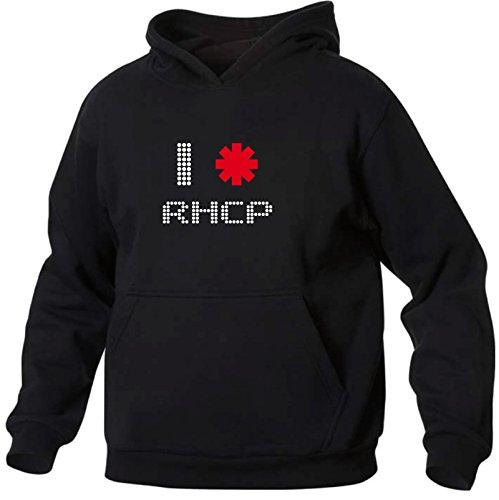 Art T-shirt, Felpa Con Cappuccio I Love Red Hot Chili Peppers, Uomo, Nero, M