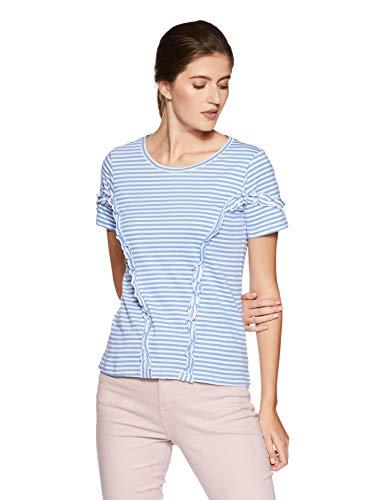 Amazon Brand- Symbol Women's Striped Loose Fit T-Shirt (WTST07-White & Blue-S)