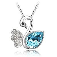 Swarovski Elements 18K White Gold Plated Encrusted With Blue Swarovski Crystals, SWR-371