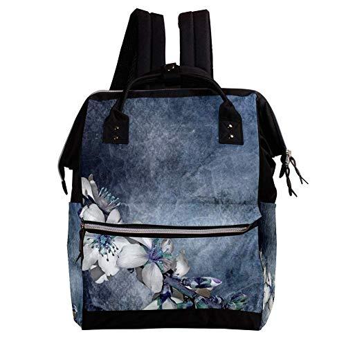 Zweig Blumen Wickelrucksack Wickeltasche große Kapazität der Mehrfachtasche für Mutterschaftsbabywindeländerung Mama Multifunktionsreiserucksack,27x19.8x36.5cm -