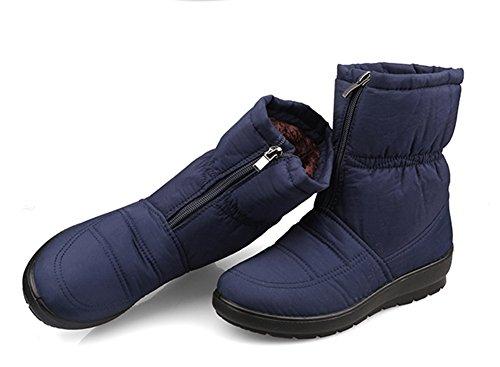 Fortuning's JDS Femmes Dames Hiver Imperméable Anti-dérapant Velu Velours Thermique Coton bottes Mère chaussures Bottes de neige Bleu foncé