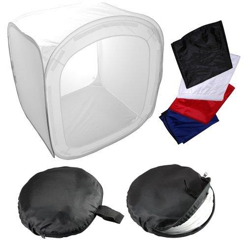 500 Laken (LICHTWÜRFEL Fotozelt Lichtzelt Studio Cube Foto Ministudio+ 4 Hintergrund Fotostudio Blau Rot Schwarz Weiß 80/80/80CM)