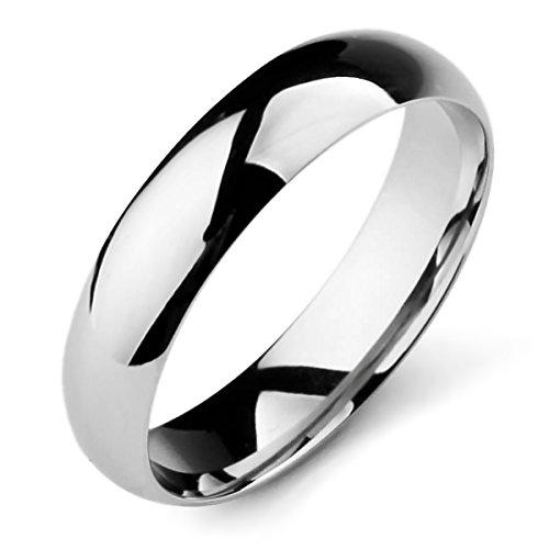 Munkimix larghezza 5mm acciaio inossidabile banda anello anelli tono argento matrimonio dimensioni 20 uomo,donna