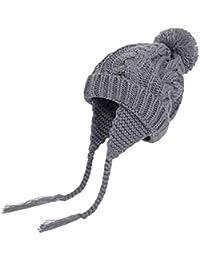 YIQI Tejer Orejeras de Lana-Invierno bebé Lengua niña niño Pesca cálido frío Sombrero-Prendas de Punto,Rojo