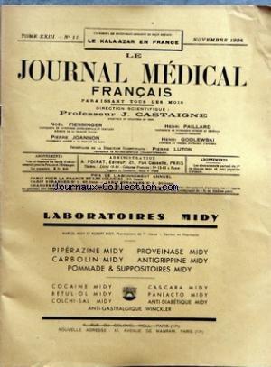 JOURNAL MEDICAL FRANCAIS (LE) [No 11] du 01/11/1934