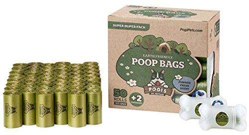 Pogi's Hundekotbeutel – 50 Rollen (750 Tüten) +2 Spender – große, biologisch abbaubare, parfümierte, tropfsichere Hundetüten - 2