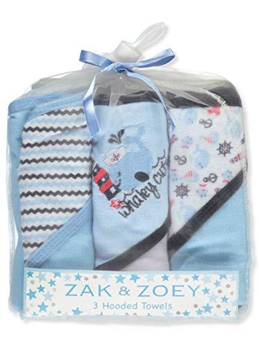 Zak & Zoey Baby Jungen Kapuzenhandtücher 3er Pack one Size Blau/Mehrfarbig (Jungen Importiert)