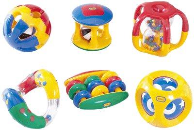 TOLO 'Baby-Rasselset' - 6tlg. farbenfrohes Set mit verschiedenen Rasseln (Altersempfehlung: ab 3 Monaten)