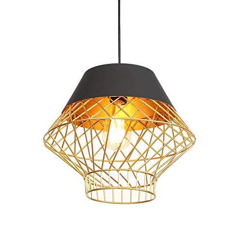 ● Vintage pendelleuchte eisen kunst schatten anhänger esszimmer lampe led e27 sockel pendelleuchte runde kreative kronleuchter for restaurant wohnzimmer büro café, 1-flamme & oslash;32cm, Kabellänge 1 -