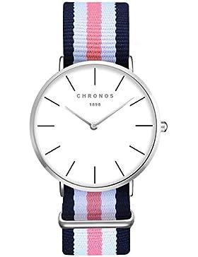 XLORDX Damen Unisex Armbanduhr elegant Quarzuhr Uhr modisch Zeitloses Design klassisch Silber Nylon Blau Weiß...