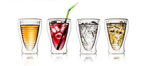 "Creano doppelwandiges Thermoglas 250ml ""DG-Hoch"", 2er Set, großes hitzebeständiges Trinkglas aus Borosilikatglas, Kaffee-/Teeglas"