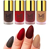 Mi Fashion Velvet Dull Matte Nail Polish, Coffee, Tomato Red, Maroon, Nude, 39.6ml