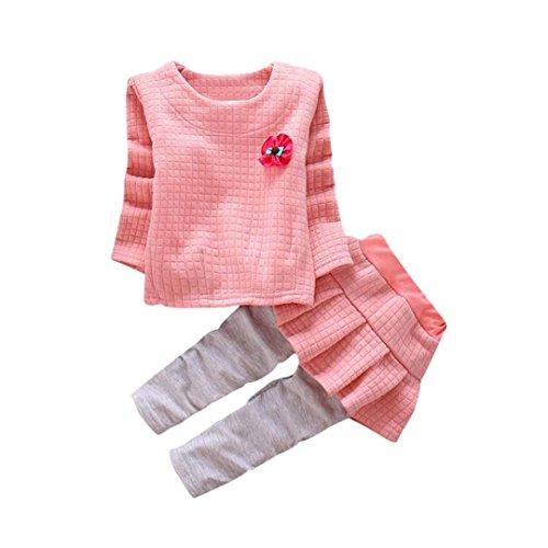 Babyklamotten Hirolan Daily Kindermode Baumwolle Mädchen Outfits Kleinkind Kind Baby Plaid Blumen Drucken T-Shirt Tops + Hosen Rock Weich Kleider Set (110cm, (2 Plaid Stück Kostüme)