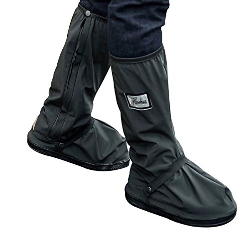 Rain Shoe Covers - YOPINDO Waterproof Anti-slip Reusable Zippers Women Men Cycling Rainstorm Snowstorm Motorcycle Bike Garden Rain Gear High Rain Boots Cover Flat Overshoes (L, Black)