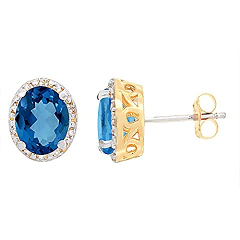 9ct Yellow Gold Diamond Natural London Blue Topaz Earrings Oval
