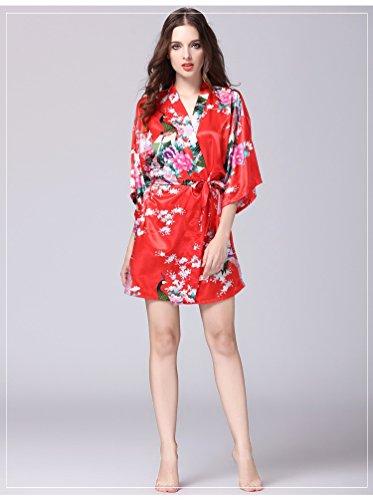 JINSHENG Gestickte Seide Robe Mädchen Sommer sexy EIS Seide Bademäntel dünne Seide große Größe Robe japanischen Stil Kimono Short-Sleeved Pyjamas S große rote