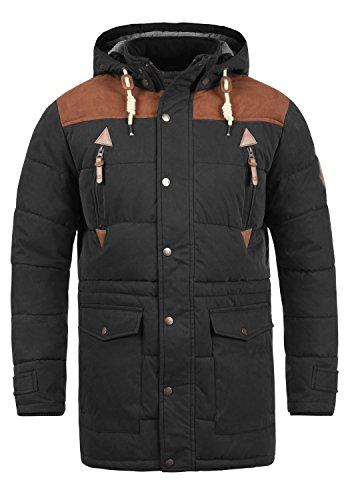 SOLID Dry Long Herren Winterjacke Jacke mit Stehkragen und abnehmbarer Kapuze aus hochwertiger Baumwollmischung, Größe:XL, Farbe:Black (9000) (Leder Abnehmbarer)