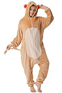 corimori- Louis el Mono Pijamas Animal Traje De Una Pieza Disfraz Adultos Invierno, Color marrón, Talla 170-180 cm (1852)