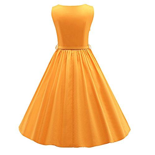 LUOUSE 'Audrey' Hepburn Stil Vintage Clarity Kleid im 50er-Jahre-Stil V031-Gelb