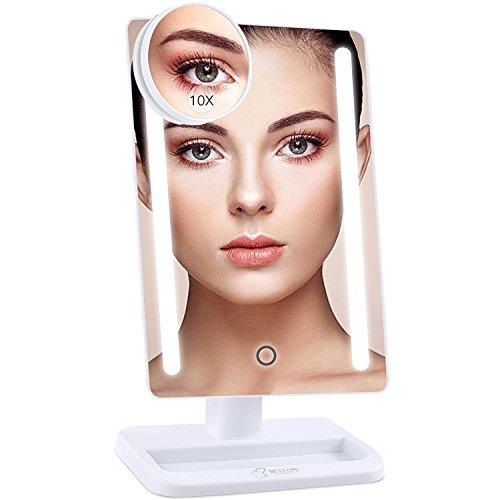 Espejo Maquillaje, BESTOPE 21 Luces LED Espejo Cosmético, Pantalla Táctil Ajusta luz, Aumentos 1x, 10x, Rotación ajustable de 180 °, fuente de alimentación doble, espejo cosmético encimera (blanco)