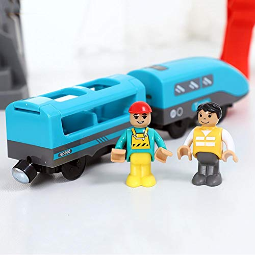 Findema Electric Train Toy Set Kids Children Gift Compatible with Wooden Track Realistic Sound and Light Battery Operated Carriages Electric Toy Train For Kids