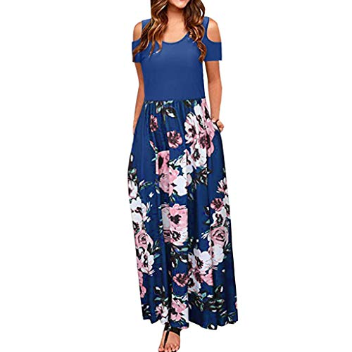 Sommerkleid Summer Dress For Women Damen Kalte Schulter Tasche Blumendruck Elegante Maxi Kurzarm Lässige Kleidung Brautjungferkleid Short Sleeve African Print Dress Plus Size Sleeveless Jumpsuit - Stiftung Tasche