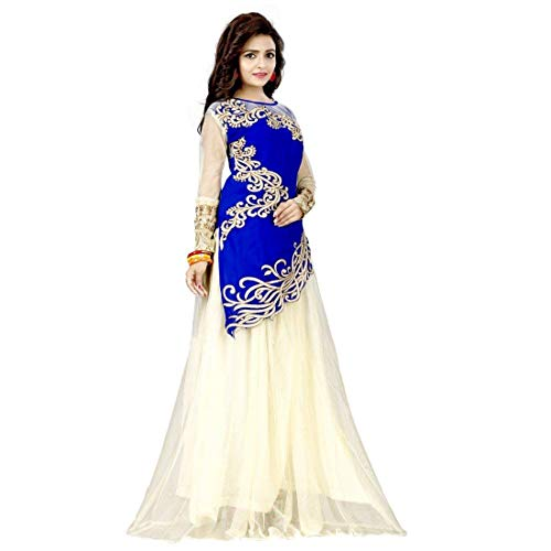 Kuber Women\'s Velvet and Net Lehenga Choli (Lahenga Variation_Blue_Free Size, Off-White)