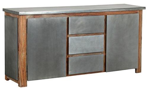 The Wood Times Sideboard Vintage Wohnzimmerschrank Massiv Odisha Sheeshamholz, FSC Zertifiziert, BxHxT 175x85x45 cm