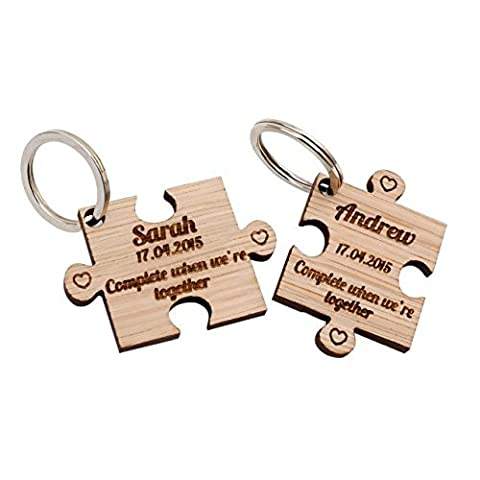 2 x Personalised Jigsaw Puzzle Piece Wooden Keyrings Each Engraved with a Name & Date