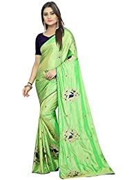 High Glitz Fashion Women's Green Color Paper Silk Embroidery Work Sari With Blouse Piece