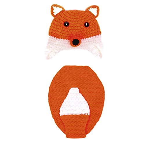 Kostüm Baby Fox Infant - Neugeborenes Baby-Fotografie Props Fox Outfit Infant Fotografia zusätzliche Kostüm-Set Strickmütze Crochet Cartoon-Kleidung für Mädchen Jungen