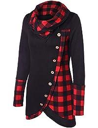 ceed42defff9c9 Closhion Women s Long Sleeve Cowl Neck Hoodie Sweatshirt Plaid Button Tunic  Tops Blouse T Shirt