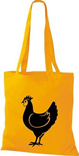 Shirtstown Stoffbeutel Tiere Hahn, Chicken Goldgelb