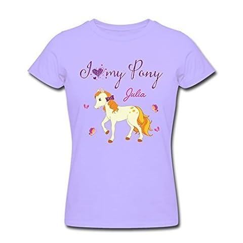 I Love mon Pony T-Shirt avec propre Nom Chemise d'enfants