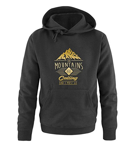 Comedy Shirts - The Mountains Are Calling and i Must go - Herren Hoodie - Schwarz/Gold Gr. 3XL