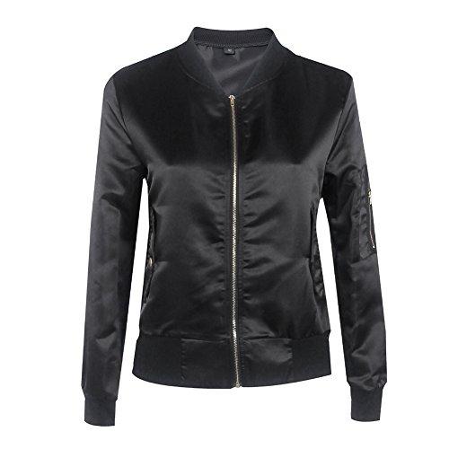 Juleya Damen Kurze Bomberjacke - Herbst Winter Slim Jacken Kurze Parka Elegant Satin Beiläufiger kurze Motorrad Jacke Mantel Tops Outwear