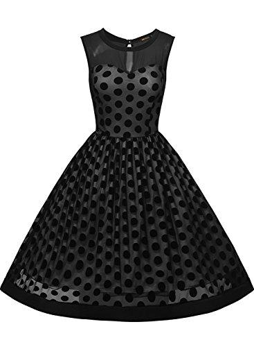 Missmay Damen Vintage 50er Jahr Kleid Abendkleid mit Polka Dots ?rmellos Cocktailkleid schwarz Gr.S