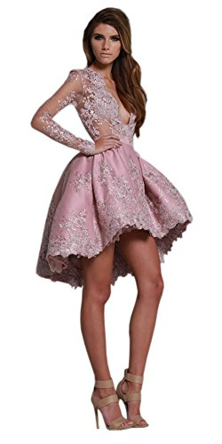 Engerla -  Vestito  - linea ad a - Floreale - Maniche lunghe  - Donna Rosa
