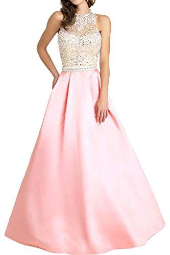 Promgirl House Damen Herrlich Satin A-Linie Abendkleider Ballkleider Cocktailkleider Festkleider Lang Rosa