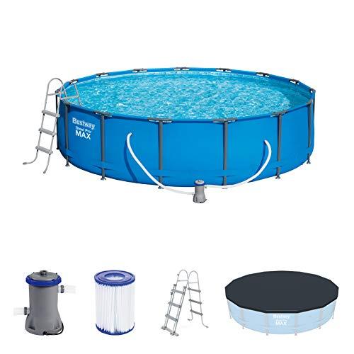 Bestway Steel Pro MAX Frame Pool Set, rund 457x107 cm Stahlrahmenpool-Set mit Filterpumpe + Zubehör, blau