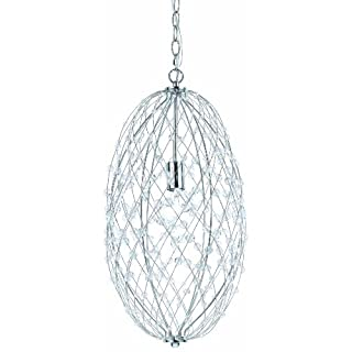 AF Lighting 8287-1H Silver Web Modern - Contemporary Pendant Light