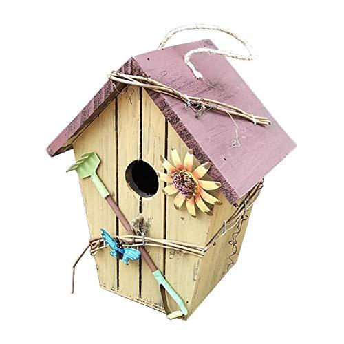 Rubyu Vogelhaus Futterhaus Hand gezeichnet Vogelhäuschen Nistkasten Garten-Deko Vogelhäuser Ländliche pastorale Für Kleinsingvögel, Ganzjahresnutzung, Landhaus