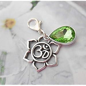 Anhänger Herz-Chakra Ohm Kristalltropfen grün Sonnengruss Meditation Yoga Charm