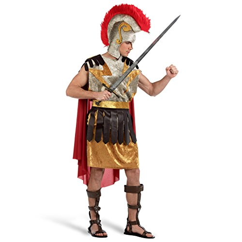Karneval Helden Kostüm Herren mit Soft Helm Römischer Feldherr Maximo Gewand Gurt Hellm Uniform Schlacht Anführer - XL