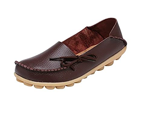 Verocara Women's Tanner Pebbled Leather Lace Up Casual Flat Shoes Driving Loafers Coffee 7.5 UK