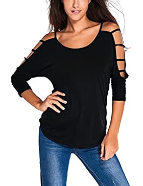 MinYuocom Mujer Camiseta Casual Tirantes 3/4 Mangas Hombros Descubiertos MZF3809