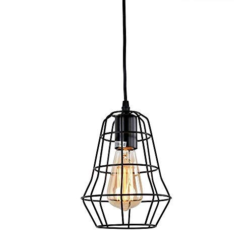 BYDXZ Retro Industrial Wrought Iron Hanging Deckenleuchte Wire Cage Pendelleuchte in schwarzer Ausführung Industrial Kitchen Island Bekleidungsgeschäft Licht E27
