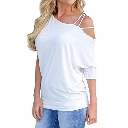 URSING Damen T-Shirt Einfarbig Kurzarm Asymmetrisch Ausschnitt Strappy -