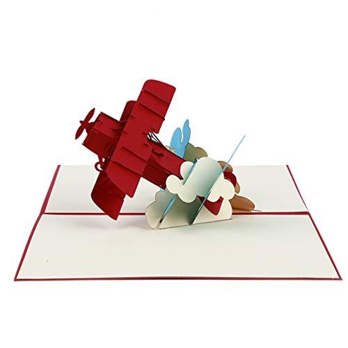 LWANFEI Tarjeta de felicitación 3D con diseño de avión para niños, tarjeta de felicitación para el día del padre, regalo único para piloto, regalo de aviación