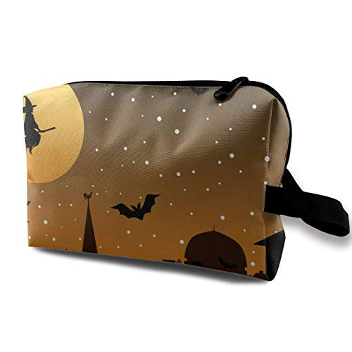 With Wristlet Cosmetic Bags Halloween Witch Travel Portable Makeup Bag Zipper Wallet Hangbag